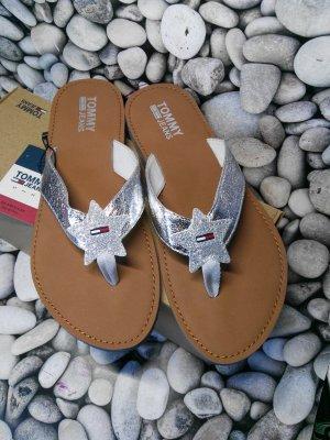 Tommy Hilfiger Flip flop sandalen zilver-bruin