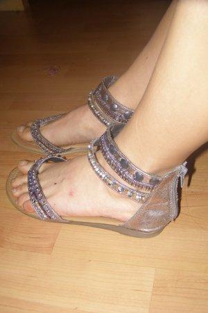 orientalische silberne Fesselriemen  Sandalen