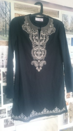 Tunic black-oatmeal cotton
