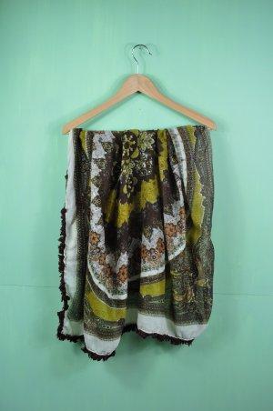 Orientalisches / Indisches Tuch mit Ornamenten und Fransen