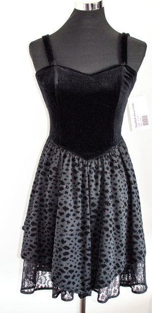 Orig. 1980s Vintage Kleid wie neu, schwarz, Samt & Tüll, Korsage, Madonna-Style - Träger abnehmbar, S/36