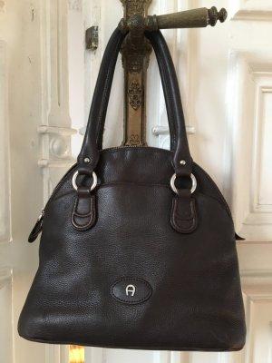 Orig. Aigner Handtasche Tasche Leder Logo Monogramm Ledertasche