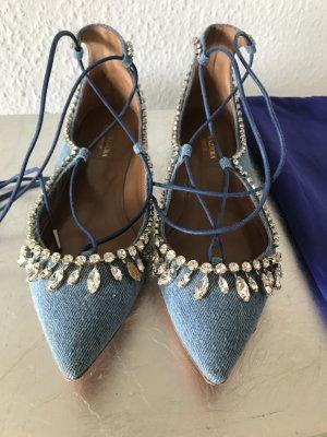 Orig AQUAZZURA Schuhe Flats Ballerinas Christy Denim blau Gr.37 NP 729€