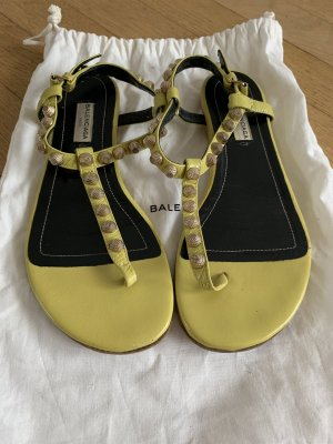 Balenciaga Strapped Sandals lime yellow leather