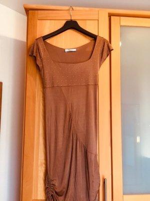 Orig. Blumarine Kleid goldene Perlen & eleganter Raffung IT 40 / DE 34/36 Braun