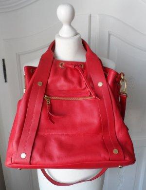 orig. Bogner Leder Tasche Beuteltasche Rot nur 2 x getragen