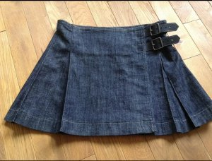 Orig Burberry Pleated Denim Faltenrock Jeansrock UK12 US10 D38/40