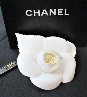 Chanel Broche blanc-doré fibre textile