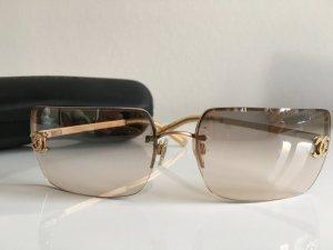 Orig. Chanel CC Logo Sonnenbrille Brille gold mit Swarovski Steinen mit Case