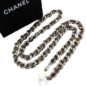 Chanel Ceinture en chaîne brun foncé-argenté