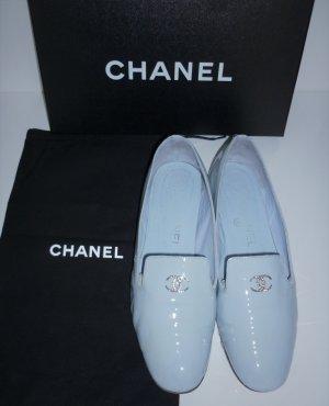 orig. Chanel Loafer Ballerinas Gr. 38 hellblau babyblau Lackleder Loafers Slipper