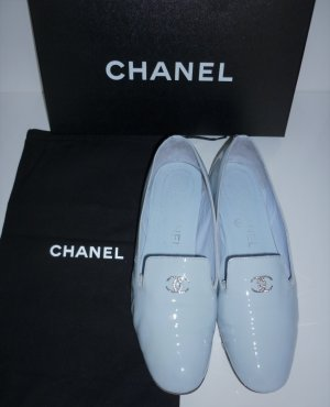 orig. Chanel Loafer Ballerinas Gr. 38 hellblau babyblau Lackleder Loafers Slipper