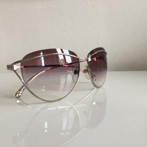 Orig. Chanel Logo Cat eye Katzenaugen Sonnenbrille Brille silber mit Case