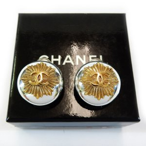 ORIG. CHANEL LOGO OHRRINGE OHRCLIPS GOLD PLATED M. ORIGINAL-BOX  / SELTEN / GUT