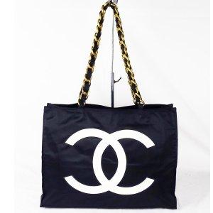 ORIG. CHANEL LOGO Shopper Schultertasche chain Kette / GUTER ZUSTAND