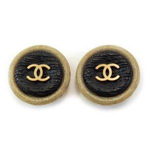 Chanel Clip d'oreille doré-noir