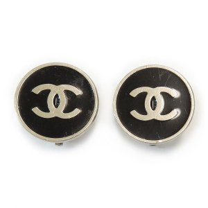 ORIG. CHANEL OHRRINGE OHRCLIPS LOGO SILVER PLATED / SELTEN / GUT