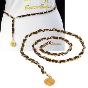 Chanel Ceinture en chaîne doré-noir