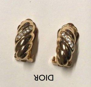 Orig. Christian Dior Designer Ohrclips gold Clips Swarovski Steine Kristalle Ohrringe vergoldet