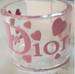 Orig. Christian Dior Runway Armreif Armband by John Galliano Logo transparent acryl Herzen Herz rosa