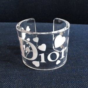 Orig. Christian Dior Runway Armreif Armband by John Galliano Logo transparent Herzen Herz