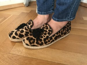 Orig Christian LOUBOUTIN Espadrilles Leo Cheetah Ponyfell Loafer 37 wNeu