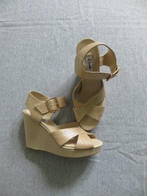 orig. Clarks echt Leder Keilabsatz Sandalette Gr. 37