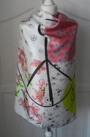orig. CODELLO Seiden Tuch Weiß Rosa Neongelb Bunt nur wenig getragen