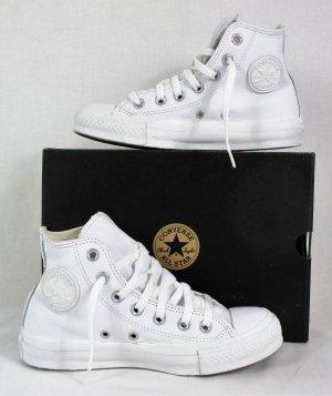 Orig. Converse Chucks Taylor All Star Leder Sneaker Stiefel / High-Top / Weiss / Gr.36.5 / HERVORRAGEND!