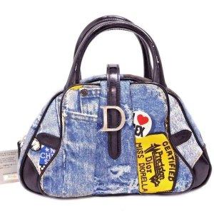 """ORIG. DIOR """"MISS DIORELLA"""" Denim Blau Saddle Bowler Handtasche / GUTER ZUSTAND"""