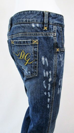 "Orig. Dolce & Gabbana ""Black Label"" Jeans/Denim/Five-Pocket/Straight fit/partiell zerschlissen/Blau/100% Baumwolle/Gr. 36/wie NEU!"