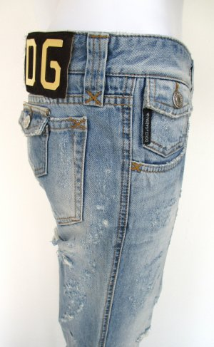 "Orig. Dolce & Gabbana ""Black Label"" Jeans/Denim/Straight fit/Five-Pocket/partiell zerschlissen/Hellblau/100% Baumwolle/Gr. 36/wie NEU!"