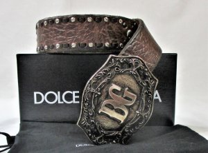 Dolce & Gabbana Leather Belt silver-colored-brown leather