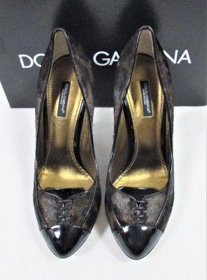 """Orig. Dolce & Gabbana """"Black Label"""" Ponyhaar-Fell-Pumps/ Leder/ Schwarz-Braun/Leomuster Braun/Gr.37.5/TOP ZUSTAND!"""