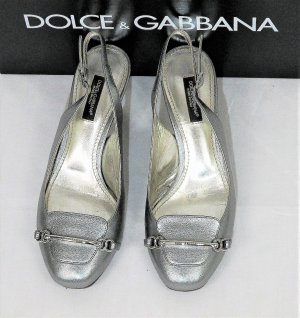 Dolce & Gabbana Slingback Pumps silver-colored-black leather