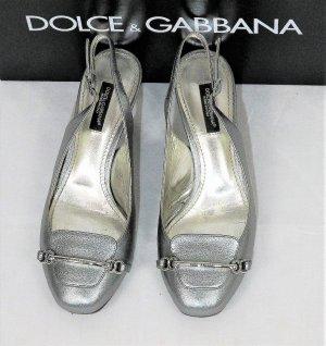 """Orig. Dolce & Gabbana Black Label Slingback-Pumps """"Capra Silk""""/Nappaleder Metallic Silber/HERVORRAGEND!"""
