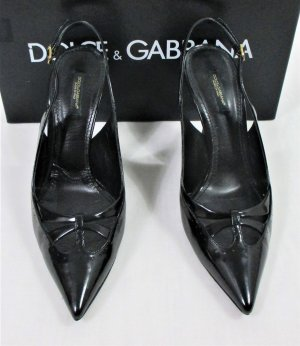 "Orig. Dolce & Gabbana ""Black Label"" Slingback-Pumps/ Lackleder / Schwarz/Gr.38/TOP ZUSTAND!"