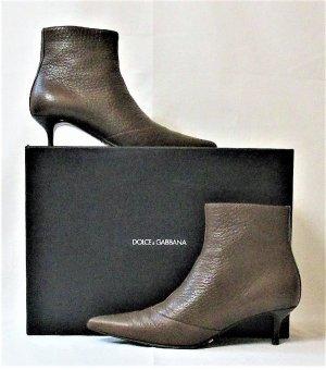 "Orig. Dolce & Gabbana ""Black Label""  Stiefeletten-Ankle Boots/Halbhoher Absatz/braun/Leder/ Gr. 36/Hervorragend!"