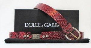 "Orig. Dolce & Gabbana ""Black Label"" verzierter Ledergürtel/Karminrot- Gold/Swarovski Steine/Gr.100/Hervorragend!"