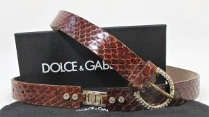 Dolce & Gabbana Leather Belt multicolored reptile leather