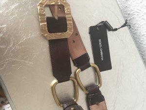 Orig. DOLCE GABBANA couture D&G Gürtel black Label braun wNEU 379€ 90 Schnalle