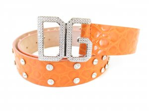 Dolce & Gabbana Waist Belt orange-silver-colored leather