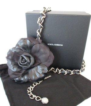 Dolce & Gabbana Cintura con catena nero-argento Pelle