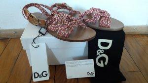 orig Dolce & Gabbana Sandalen 37 Neu mit Karton Leder