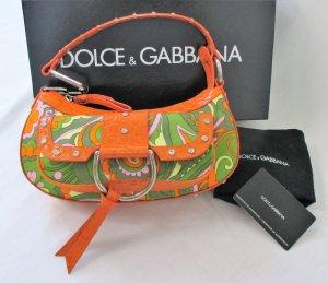 Orig. Dolce & Gabbana Schultertasche / Leder/Textil/Swarovski Steine /wie NEU!