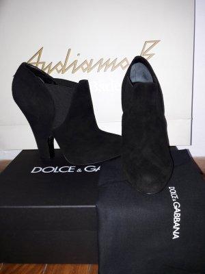 Orig Dolce & Gabbana Stiefeletten 38 NEU schwarz Velourleder Ankleboots