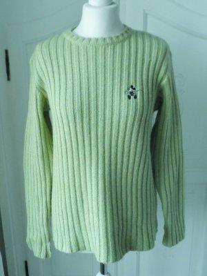 orig. Donaldson Grobstrick Pullover Gr. L Grün aus reiner Wolle wenig getragen