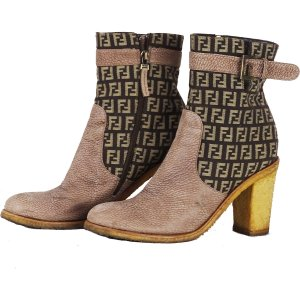 Fendi Booties light brown-sand brown leather