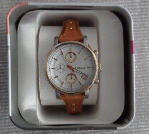 orig. FOSSIL Uhr ES3615 Silber Gold braunes Lederband nur 1 x getragen neuwertig