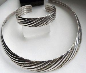 Orig. Franz Scheurle (Quinn) 925 Sterling Silber Choker Luxus Vintage Halsreif Collier Meisterpunze Echtsilber Halskette